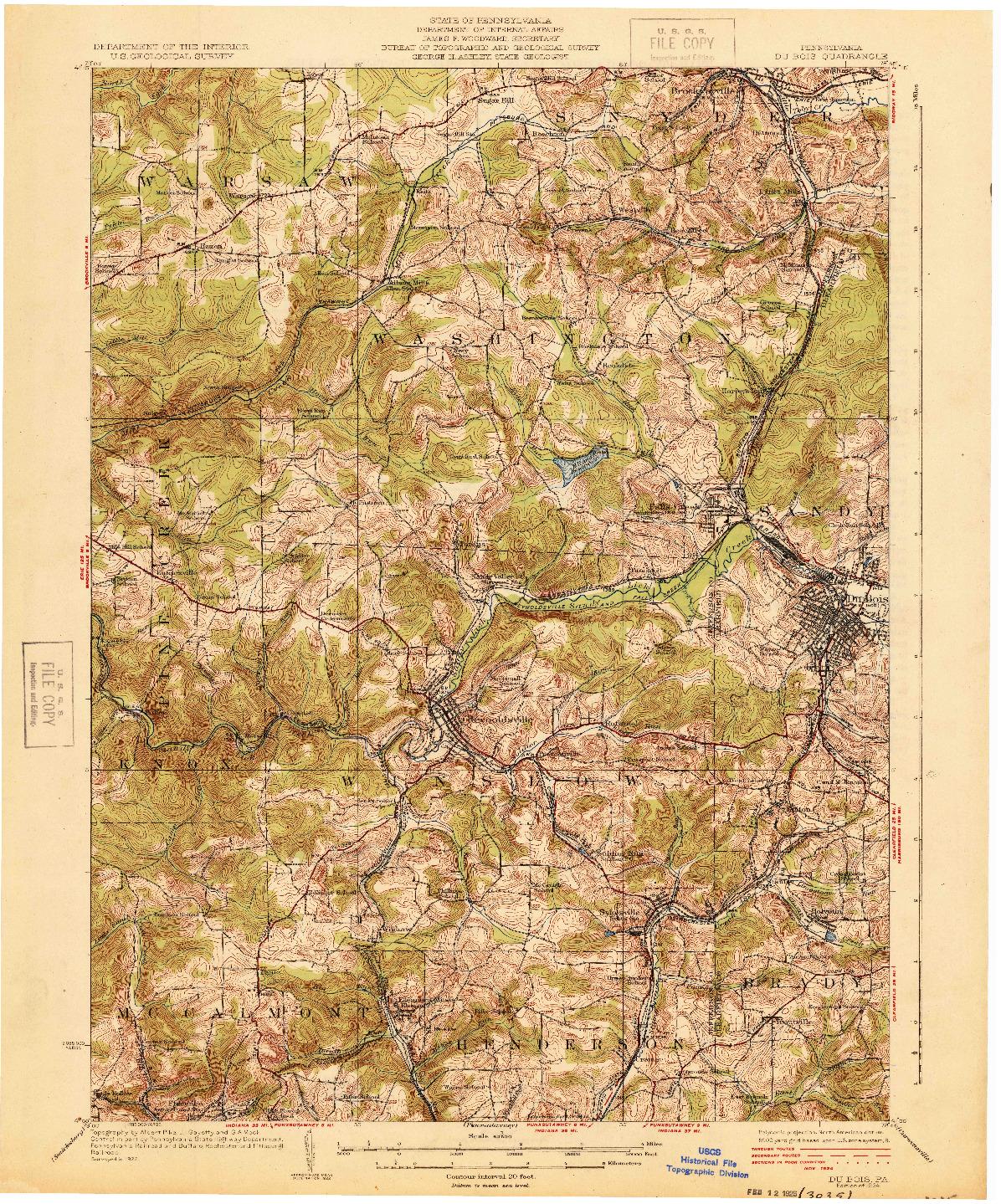 USGS 1:62500-SCALE QUADRANGLE FOR DU BOIS, PA 1924