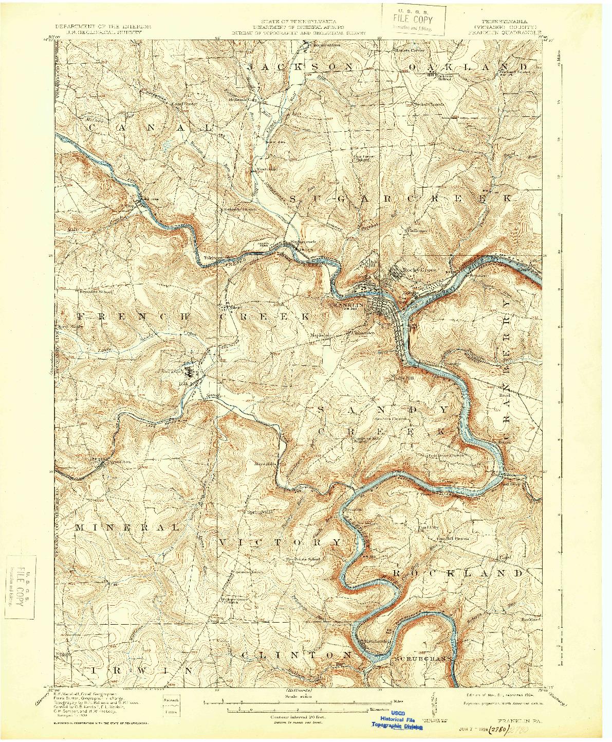 USGS 1:62500-SCALE QUADRANGLE FOR FRANKLIN, PA 1911