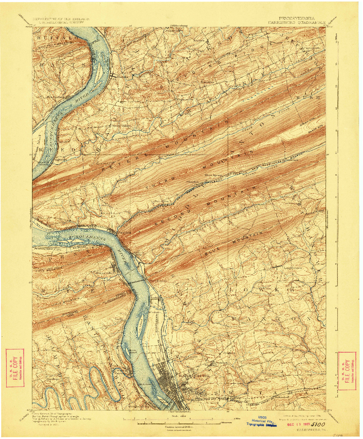 USGS 1:62500-SCALE QUADRANGLE FOR HARRISBURG, PA 1899