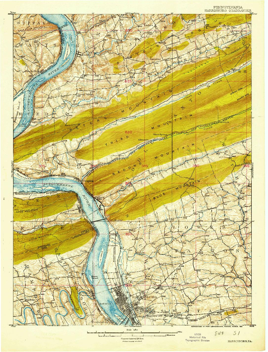 USGS 1:62500-SCALE QUADRANGLE FOR HARRISBURG, PA 1924