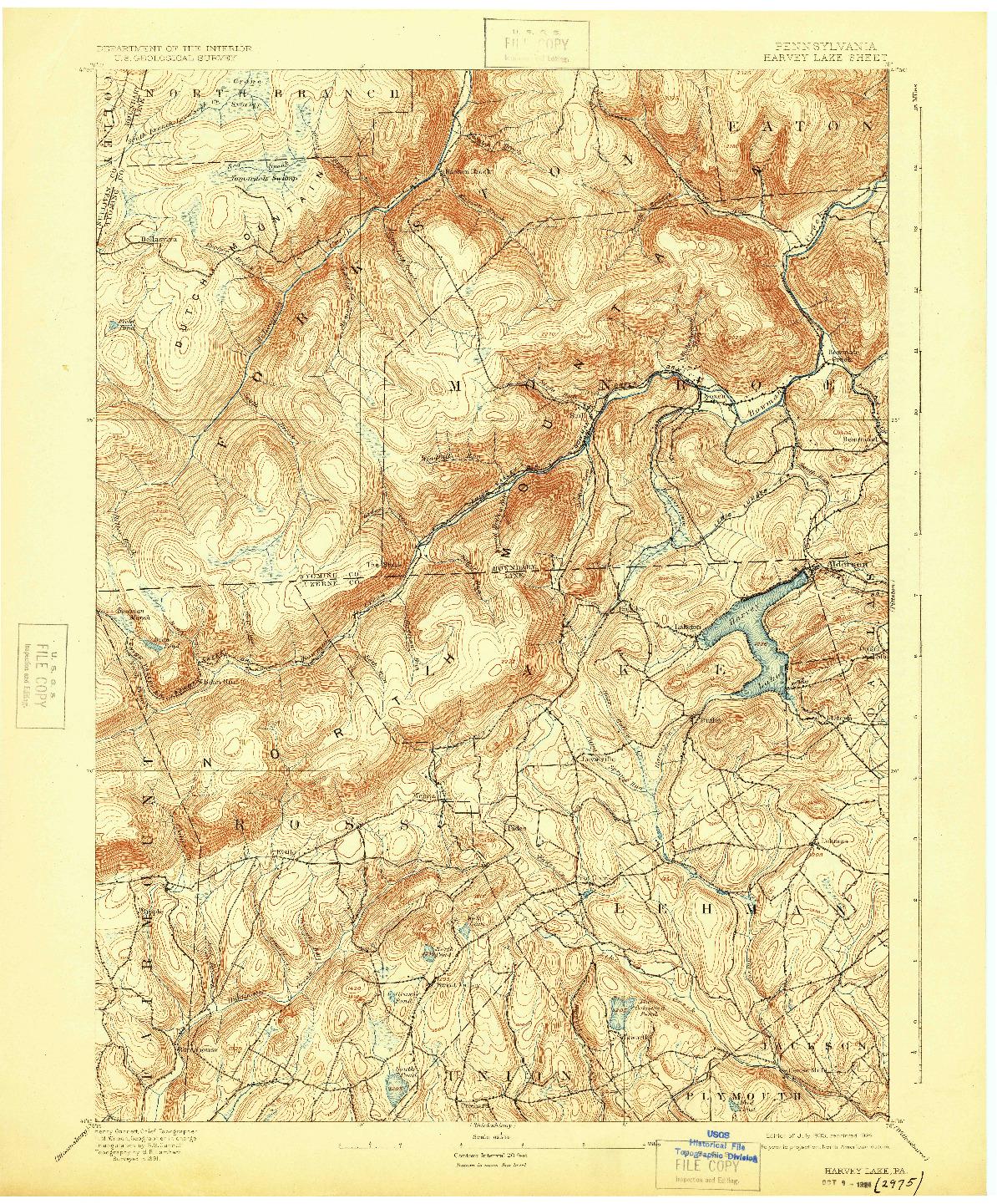 USGS 1:62500-SCALE QUADRANGLE FOR HARVEY LAKE, PA 1893