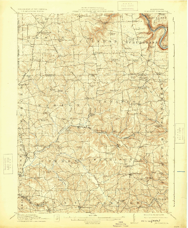 USGS 1:62500-SCALE QUADRANGLE FOR HILLIARDS, PA 1912