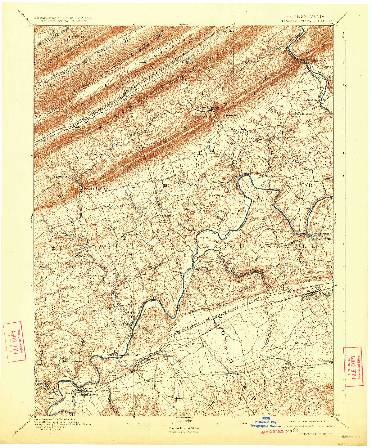 USGS 1:62500-SCALE QUADRANGLE FOR HUMMELSTOWN, PA 1892