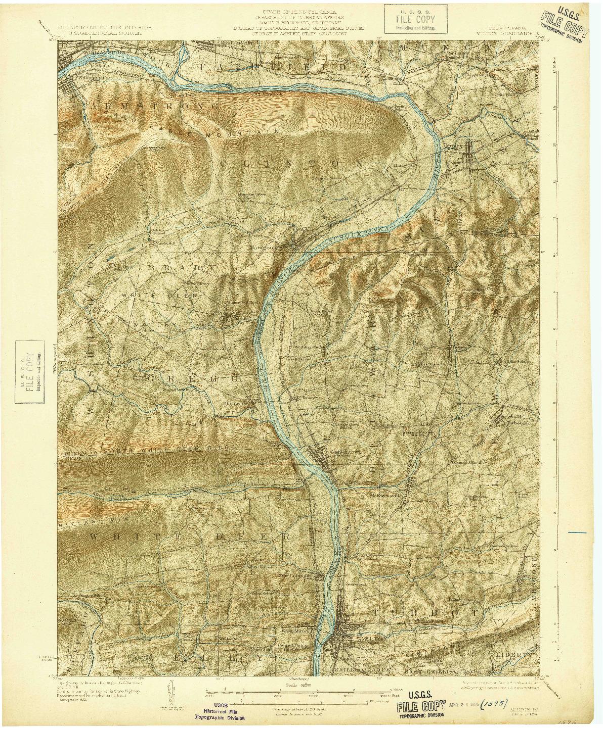 USGS 1:62500-SCALE QUADRANGLE FOR MILTON, PA 1924