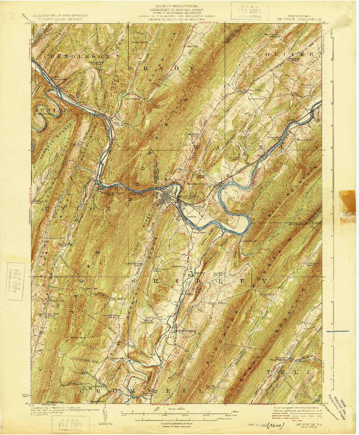 USGS 1:62500-SCALE QUADRANGLE FOR MT. UNION, PA 1924