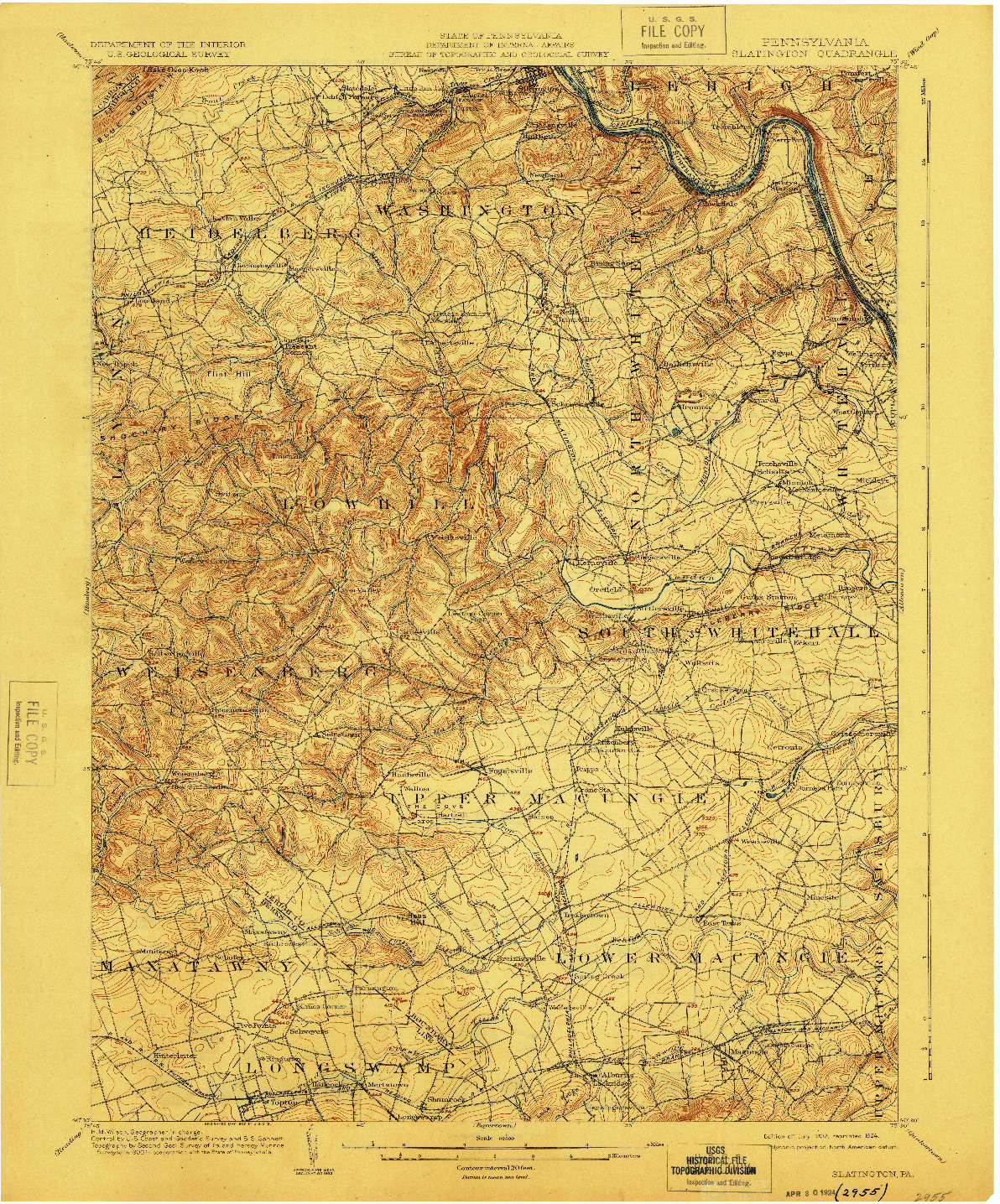 USGS 1:62500-SCALE QUADRANGLE FOR SLATINGTON, PA 1902