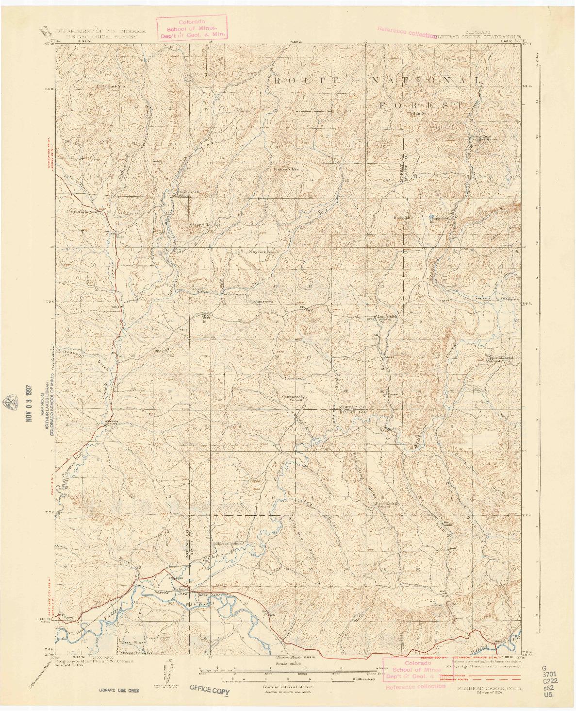 USGS 1:62500-SCALE QUADRANGLE FOR ELKHEAD CREEK, CO 1924
