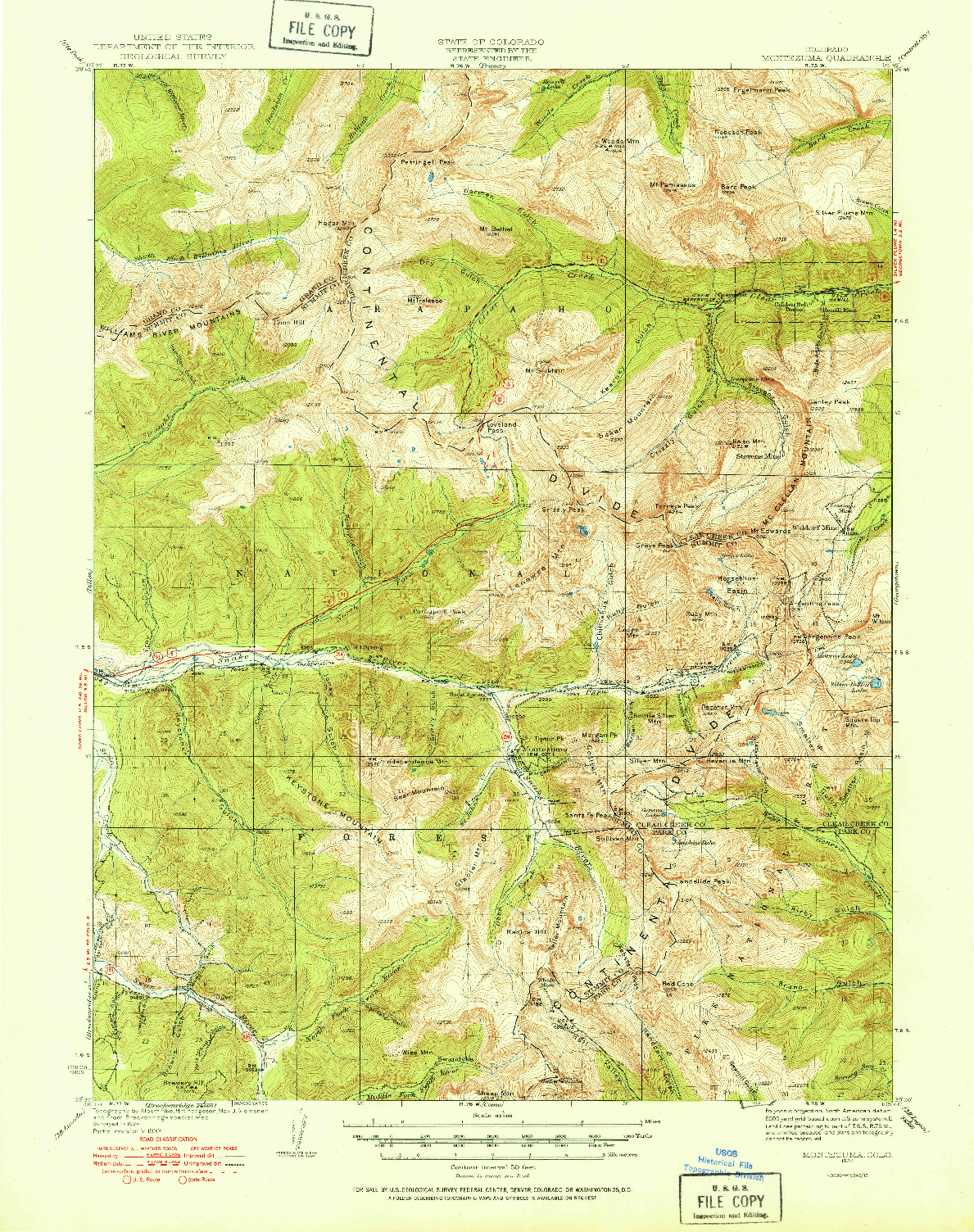 USGS 1:62500-SCALE QUADRANGLE FOR MONTEZUMA, CO 1924