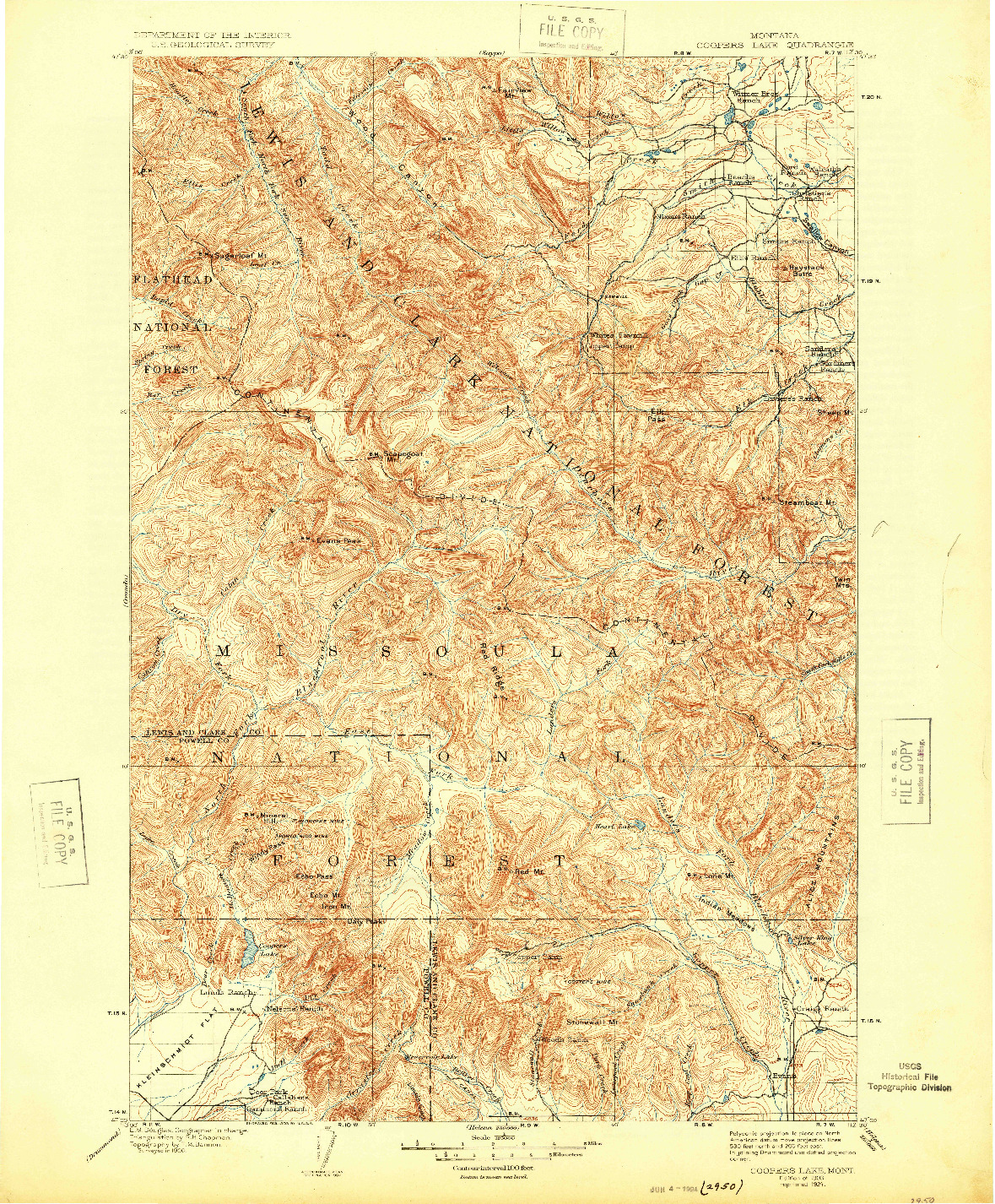 USGS 1:125000-SCALE QUADRANGLE FOR COOPERS LAKE, MT 1903
