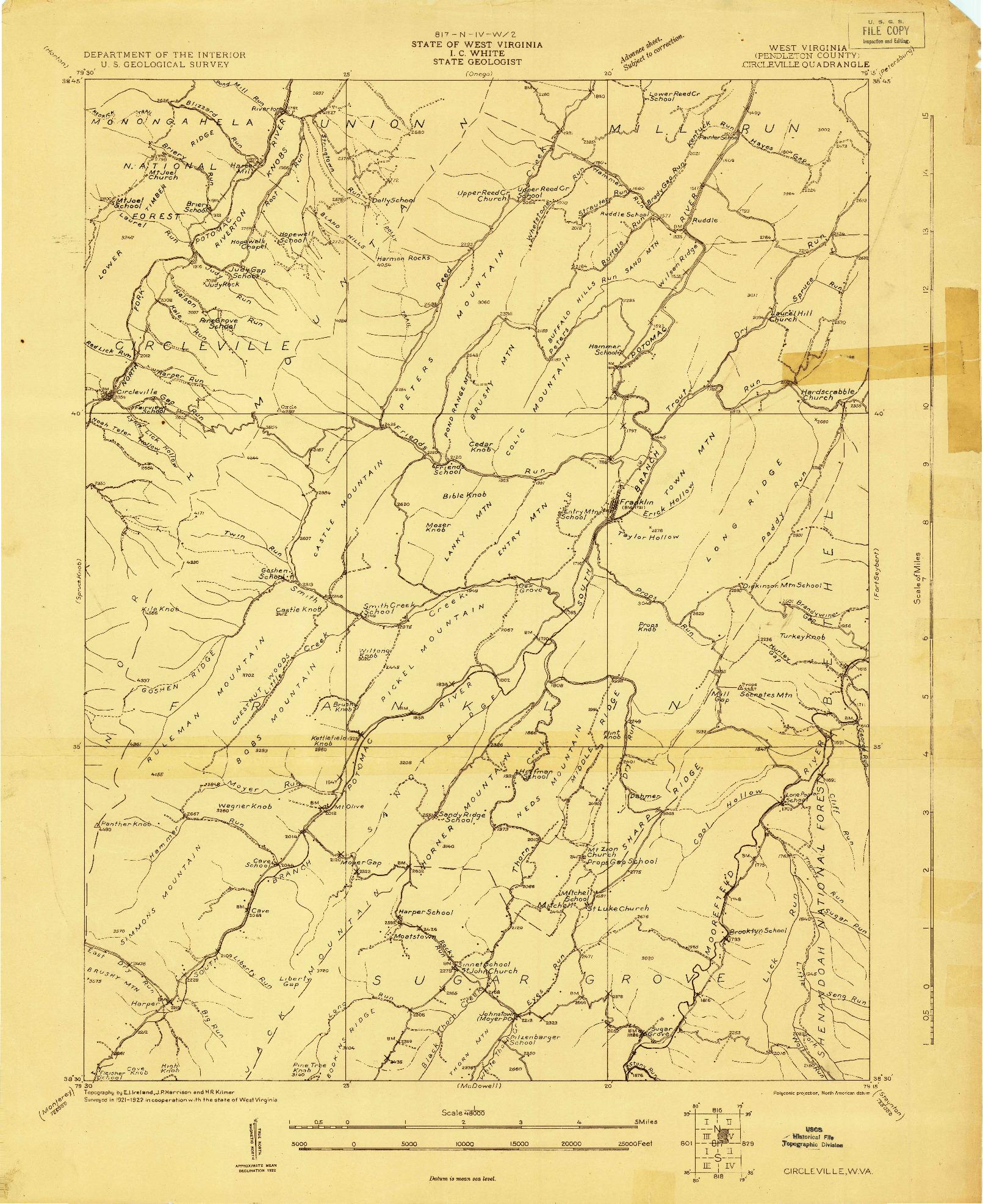 USGS 1:48000-SCALE QUADRANGLE FOR CIRCLEVILLE, WV 1924
