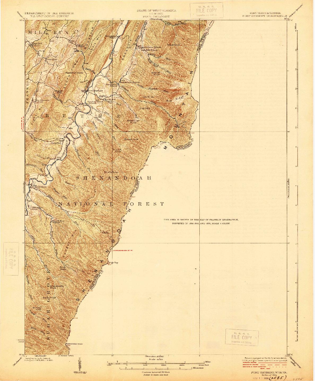 USGS 1:62500-SCALE QUADRANGLE FOR FORT SEYBERT, WV 1924