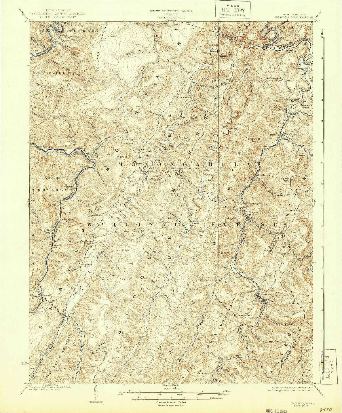USGS 1:62500-SCALE QUADRANGLE FOR HORTON, WV 1924