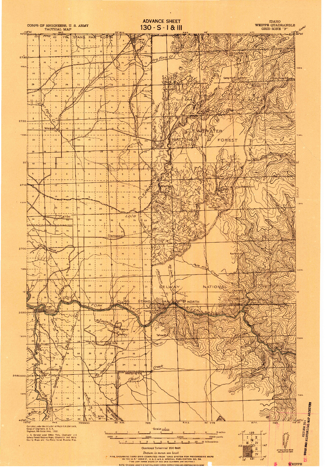 USGS 1:125000-SCALE QUADRANGLE FOR WEIPPE, ID 1924
