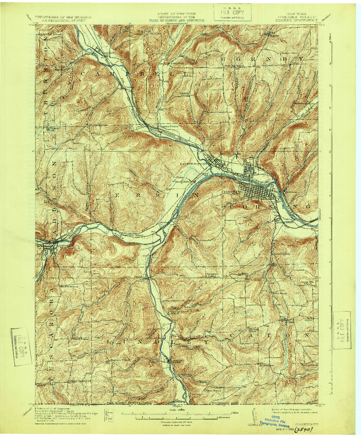 USGS 1:62500-SCALE QUADRANGLE FOR CORNING, NY 1914