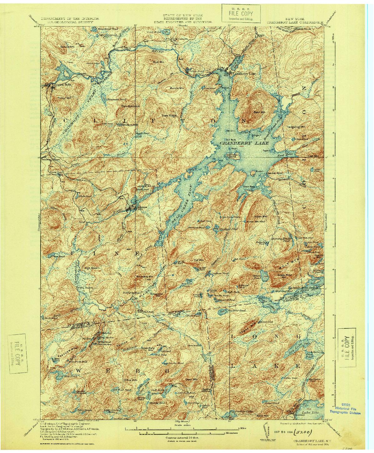USGS 1:62500-SCALE QUADRANGLE FOR CRANBERRY LAKE, NY 1921