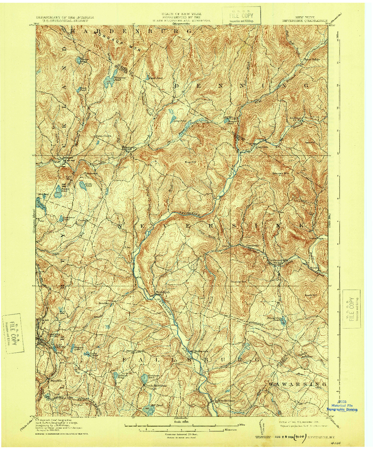 USGS 1:62500-SCALE QUADRANGLE FOR NEVERSINK, NY 1910