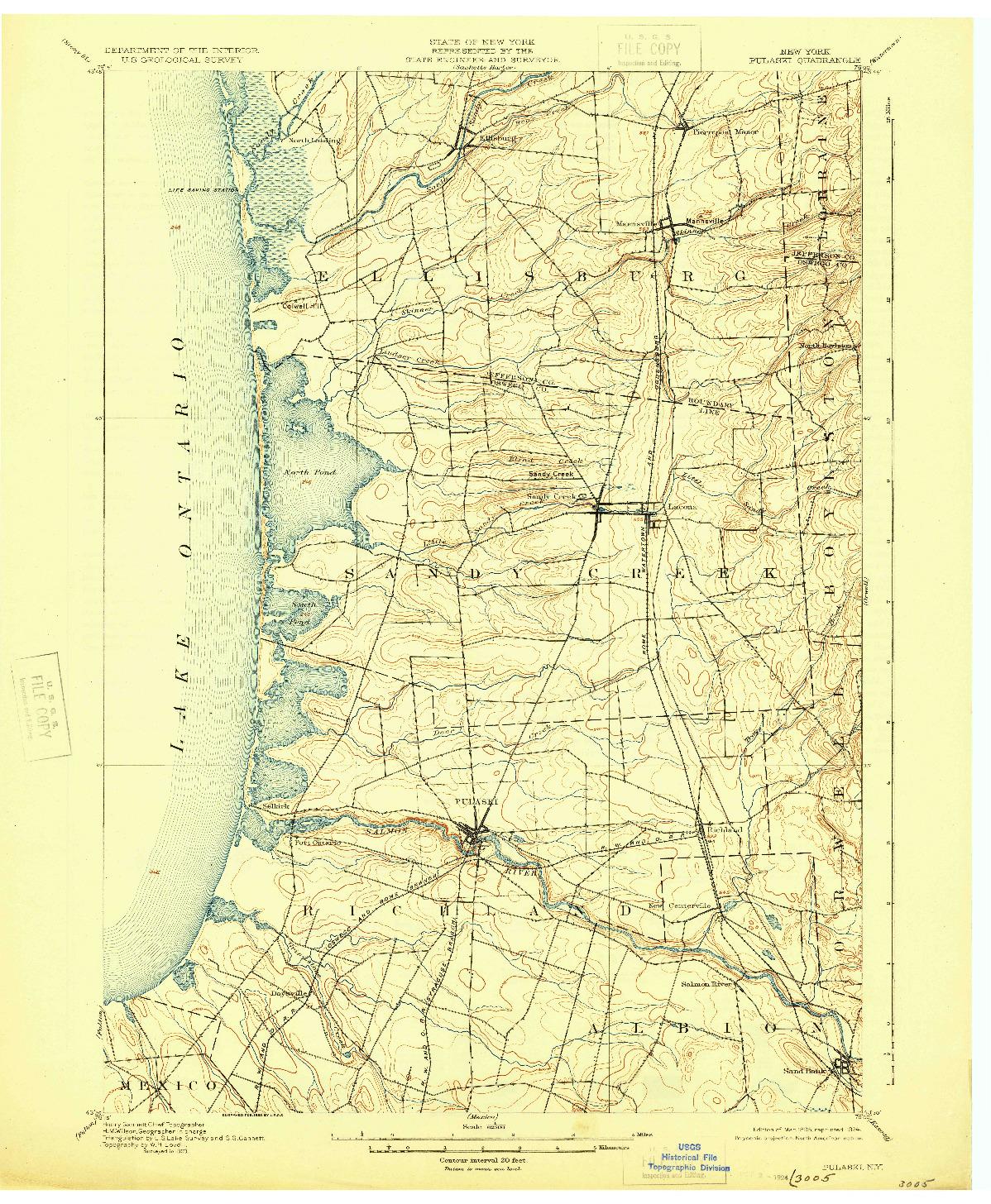 USGS 1:62500-SCALE QUADRANGLE FOR PULASKI, NY 1895