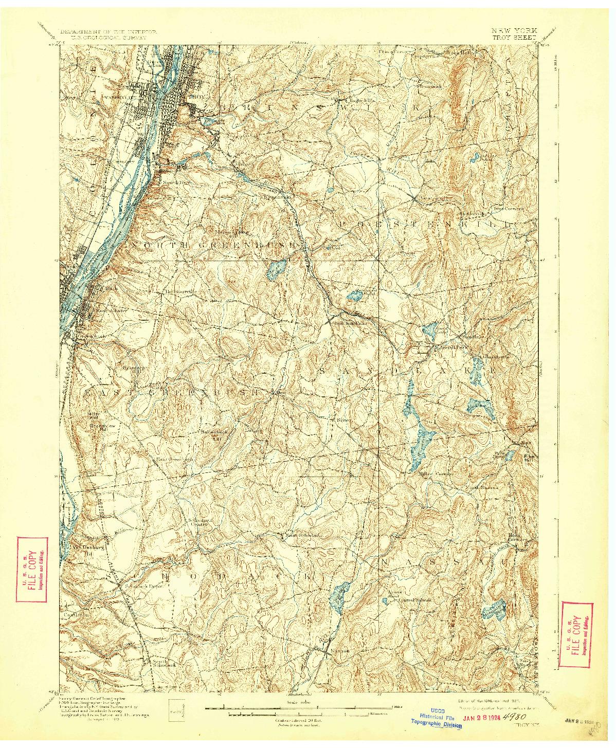USGS 1:62500-SCALE QUADRANGLE FOR TROY, NY 1898