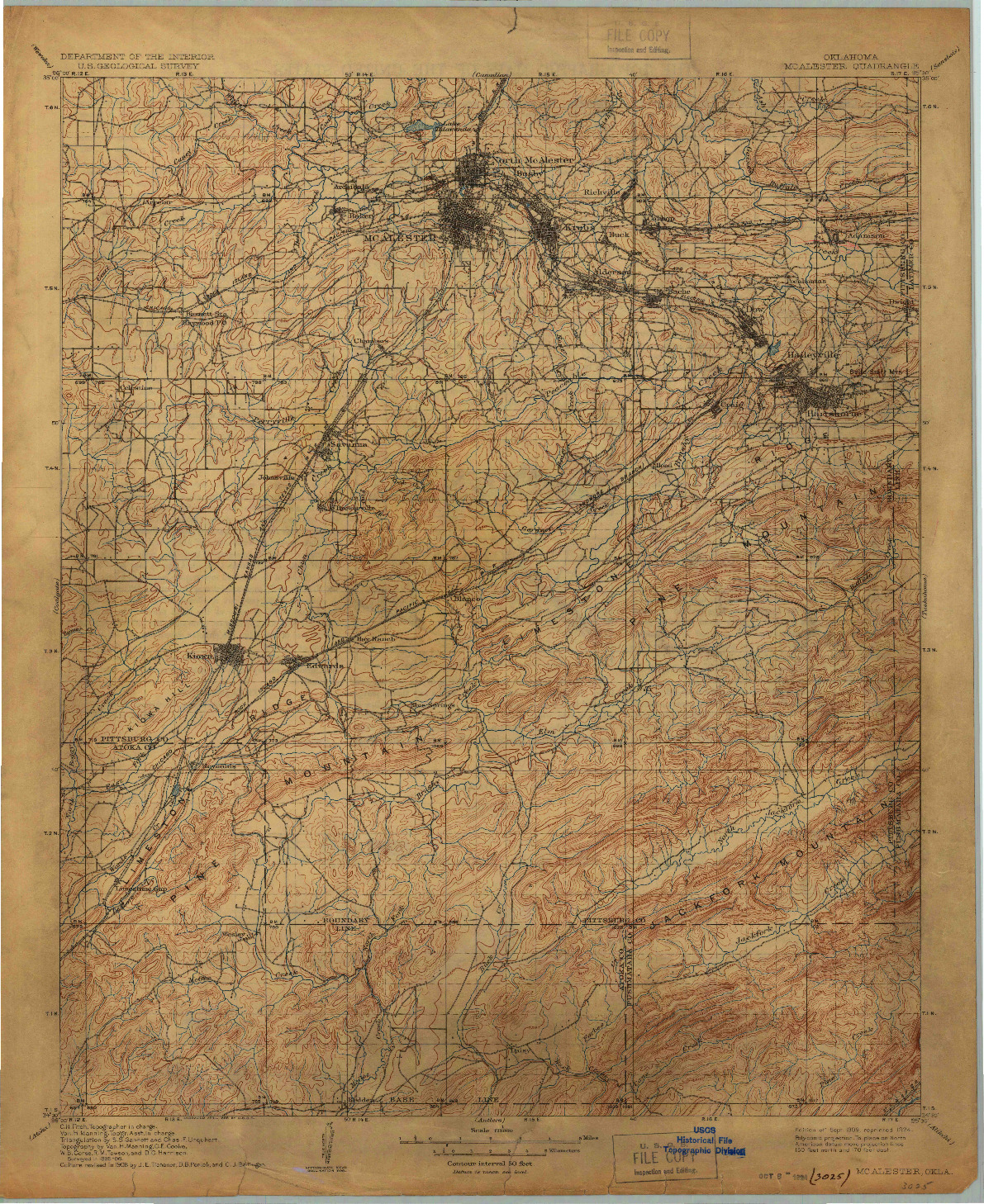 USGS 1:125000-SCALE QUADRANGLE FOR MC ALESTER, OK 1909