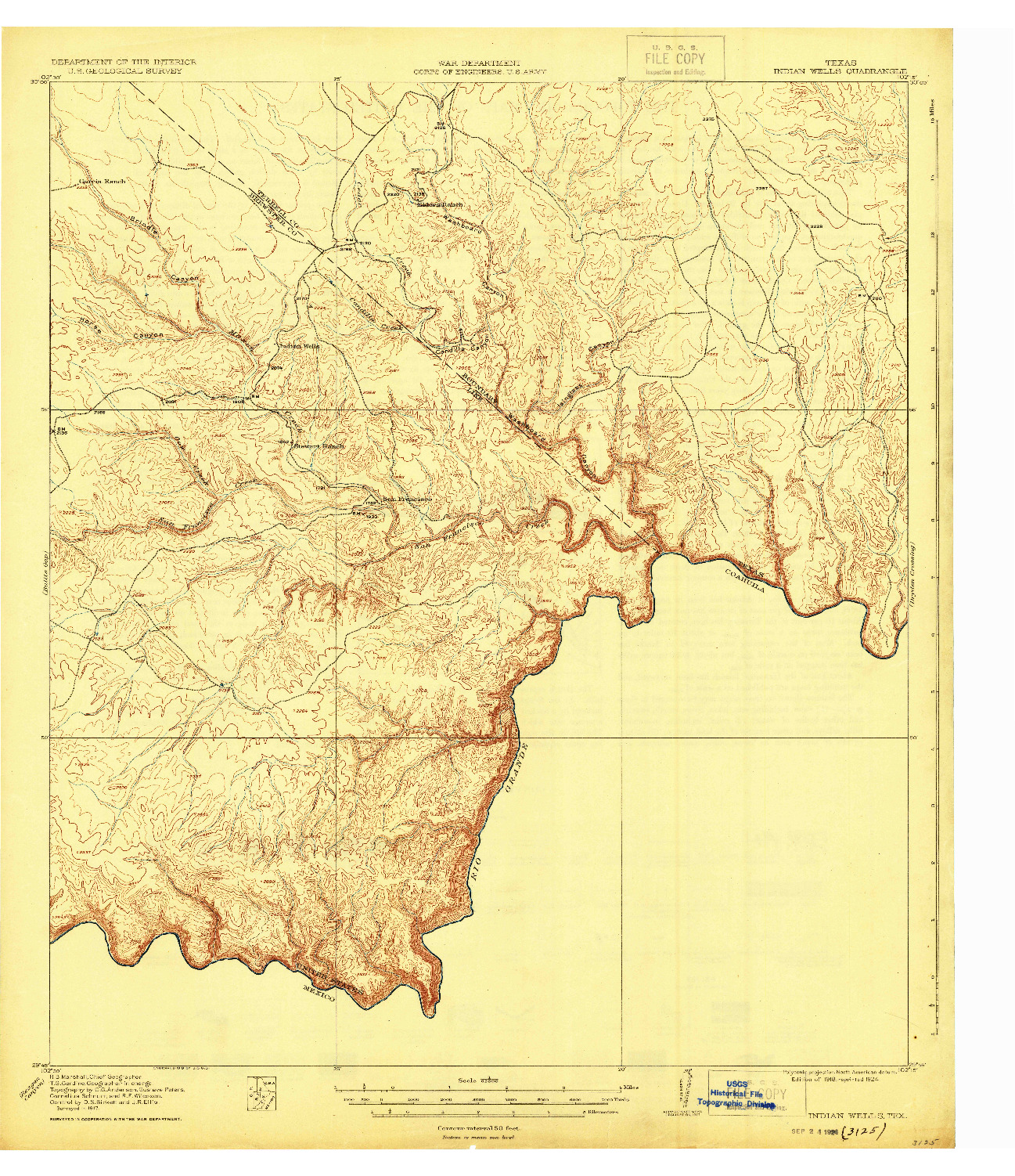 USGS 1:62500-SCALE QUADRANGLE FOR INDIAN WELLS, TX 1918