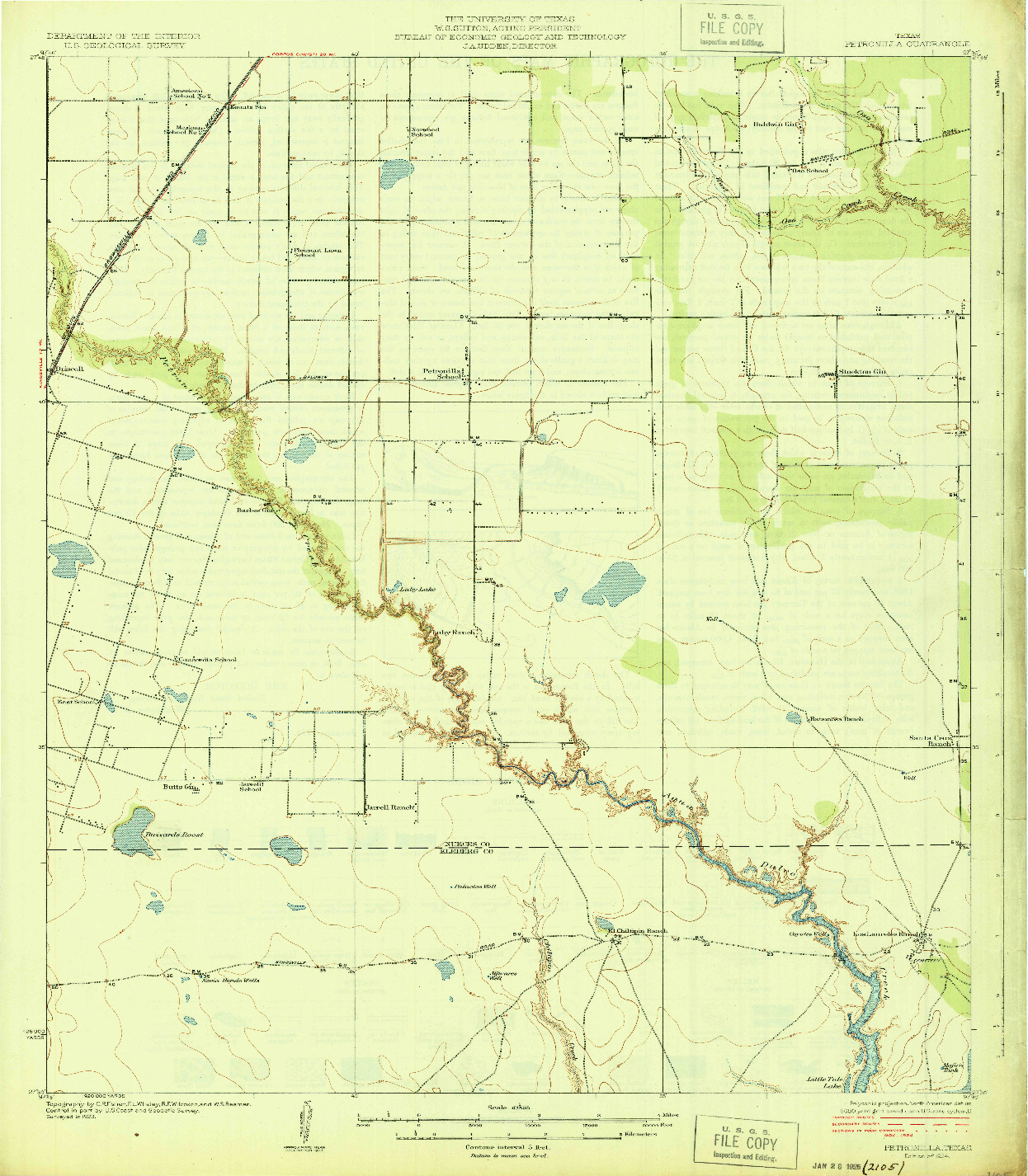 USGS 1:62500-SCALE QUADRANGLE FOR PETRONILLA, TX 1924