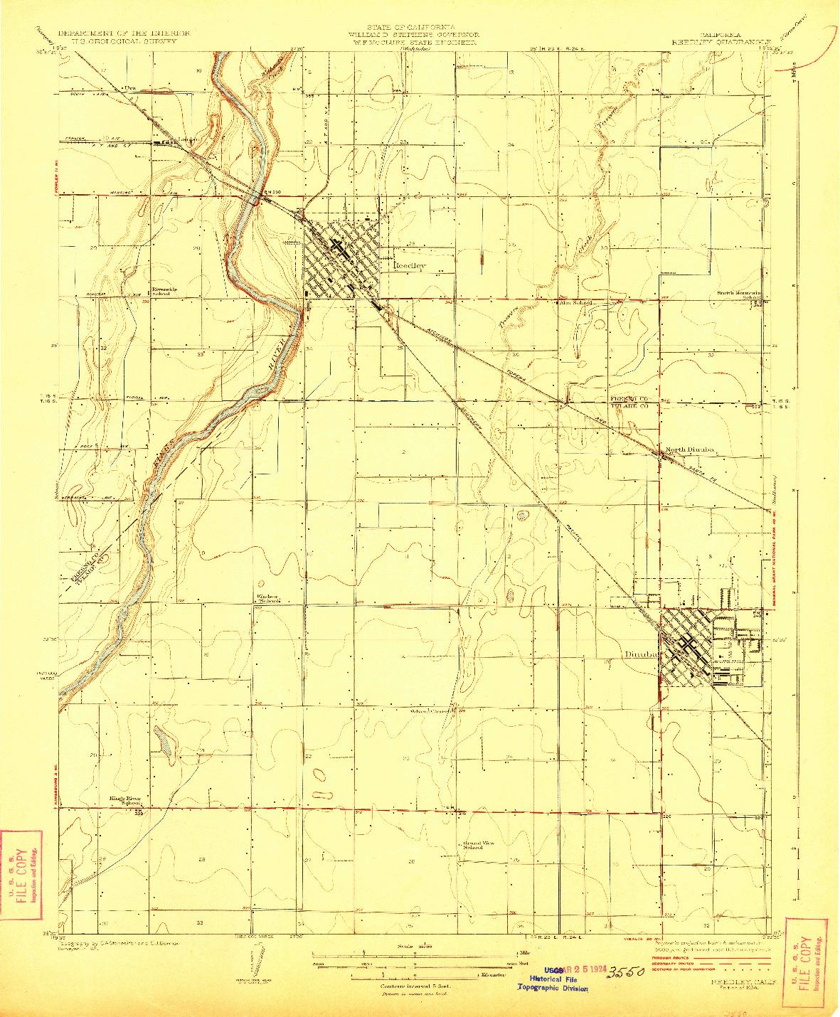 USGS 1:31680-SCALE QUADRANGLE FOR REEDLEY, CA 1924