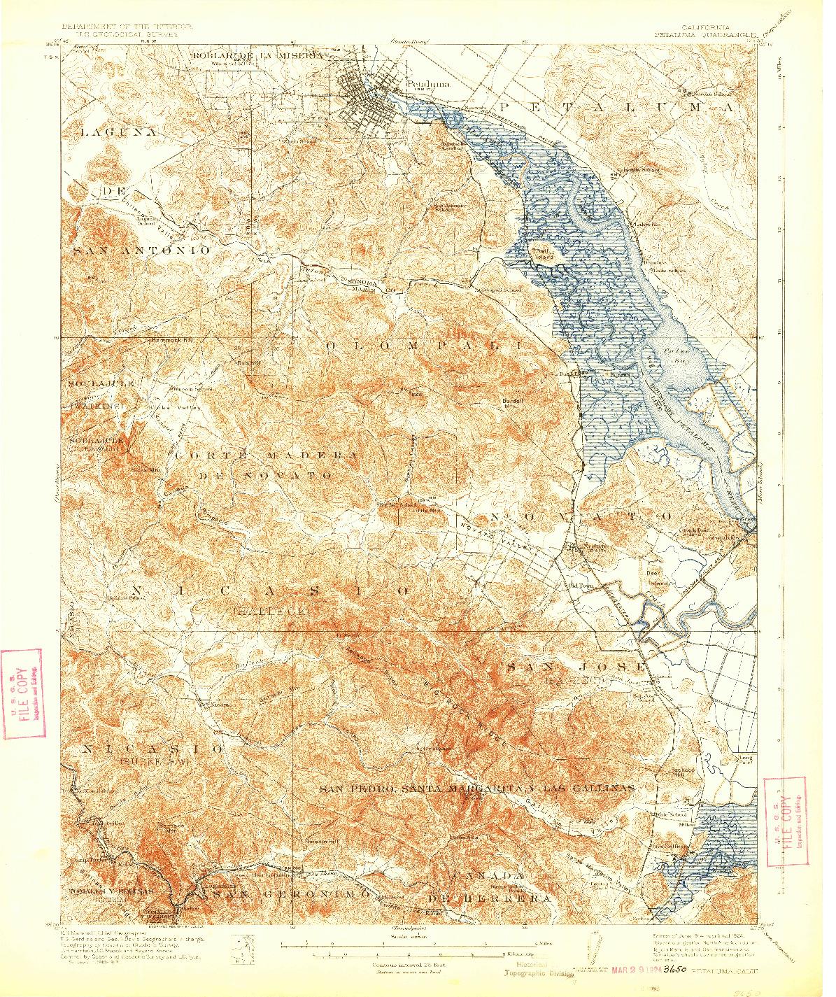 USGS 1:62500-SCALE QUADRANGLE FOR PETALUMA, CA 1914