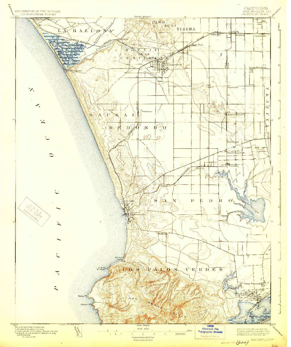 USGS 1:62500-SCALE QUADRANGLE FOR REDONDO, CA 1896