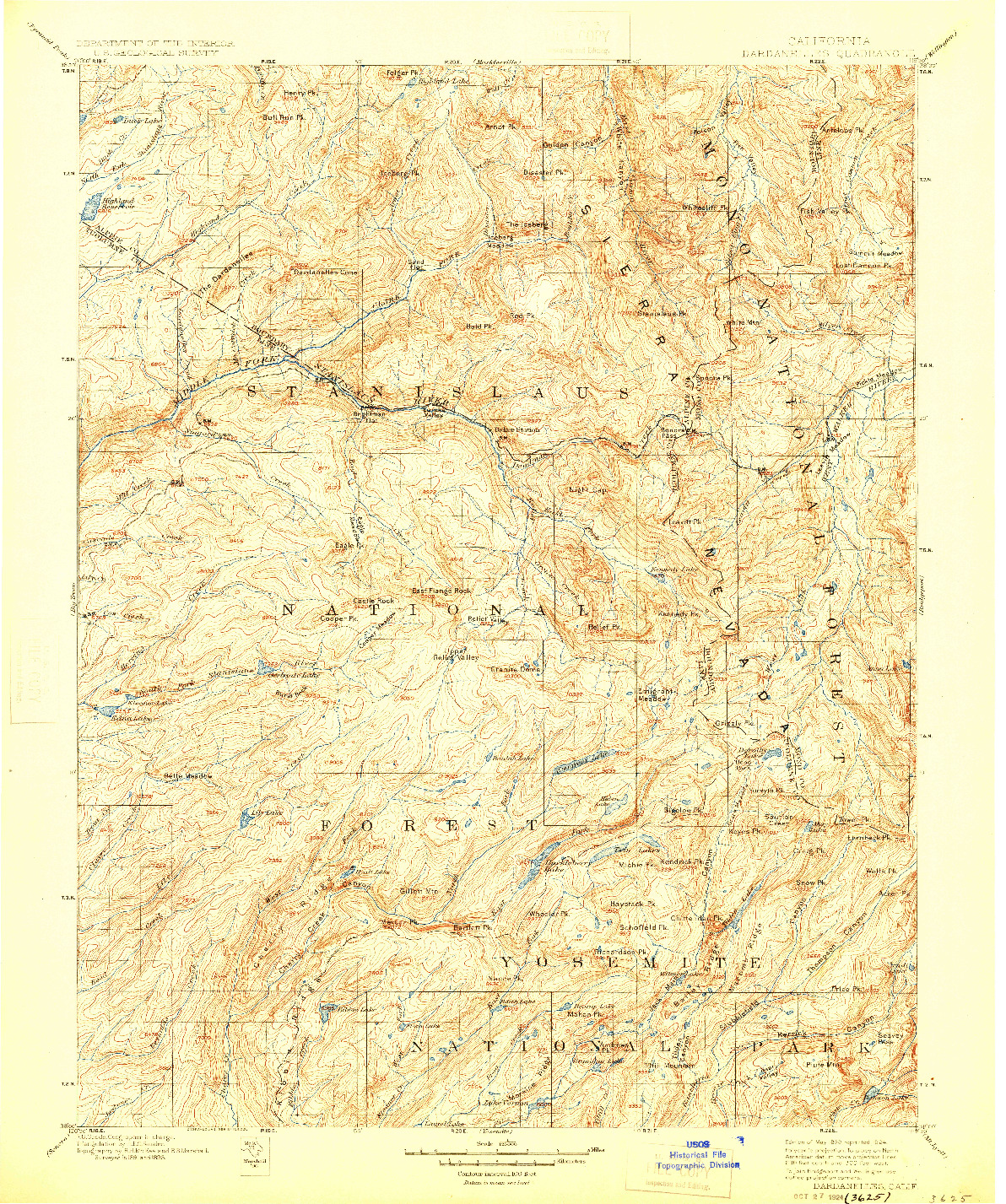 USGS 1:125000-SCALE QUADRANGLE FOR DARDANELLES, CA 1898