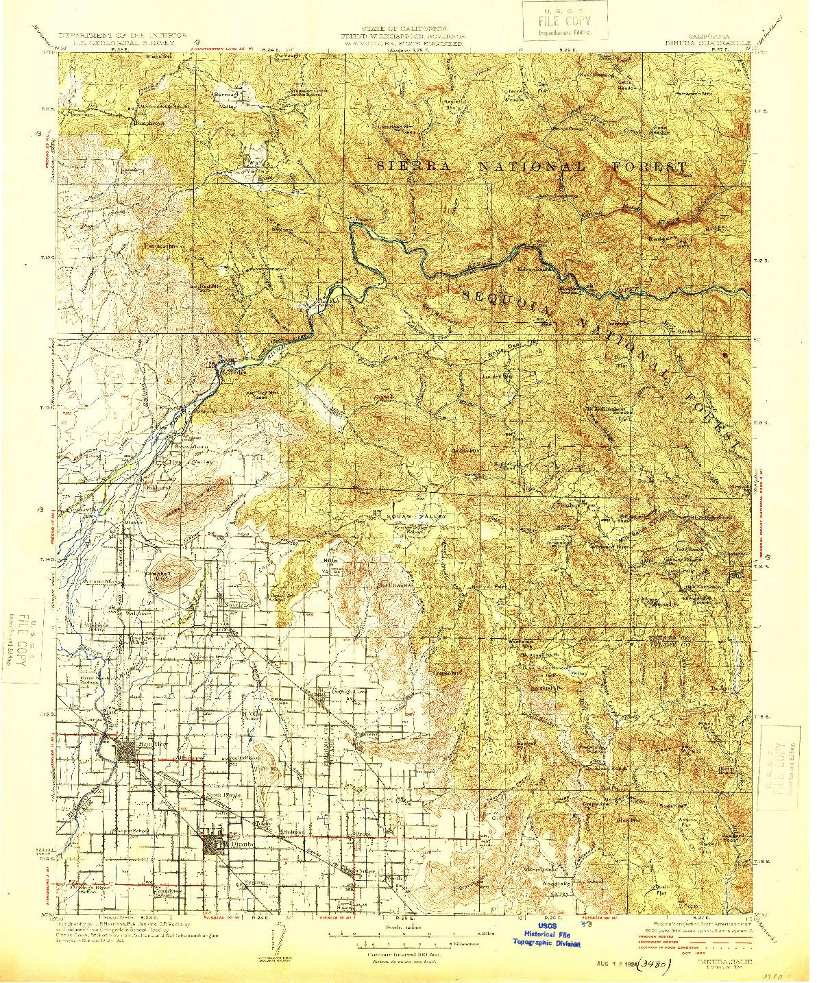 USGS 1:125000-SCALE QUADRANGLE FOR DINUBA, CA 1924