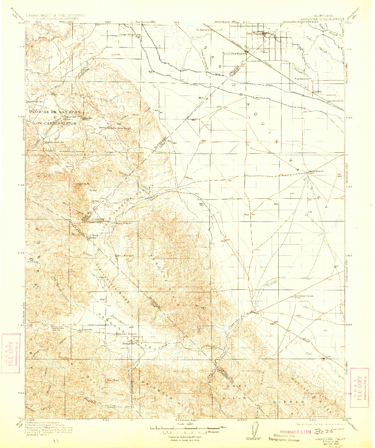 USGS 1:125000-SCALE QUADRANGLE FOR PANOCHE, CA 1913