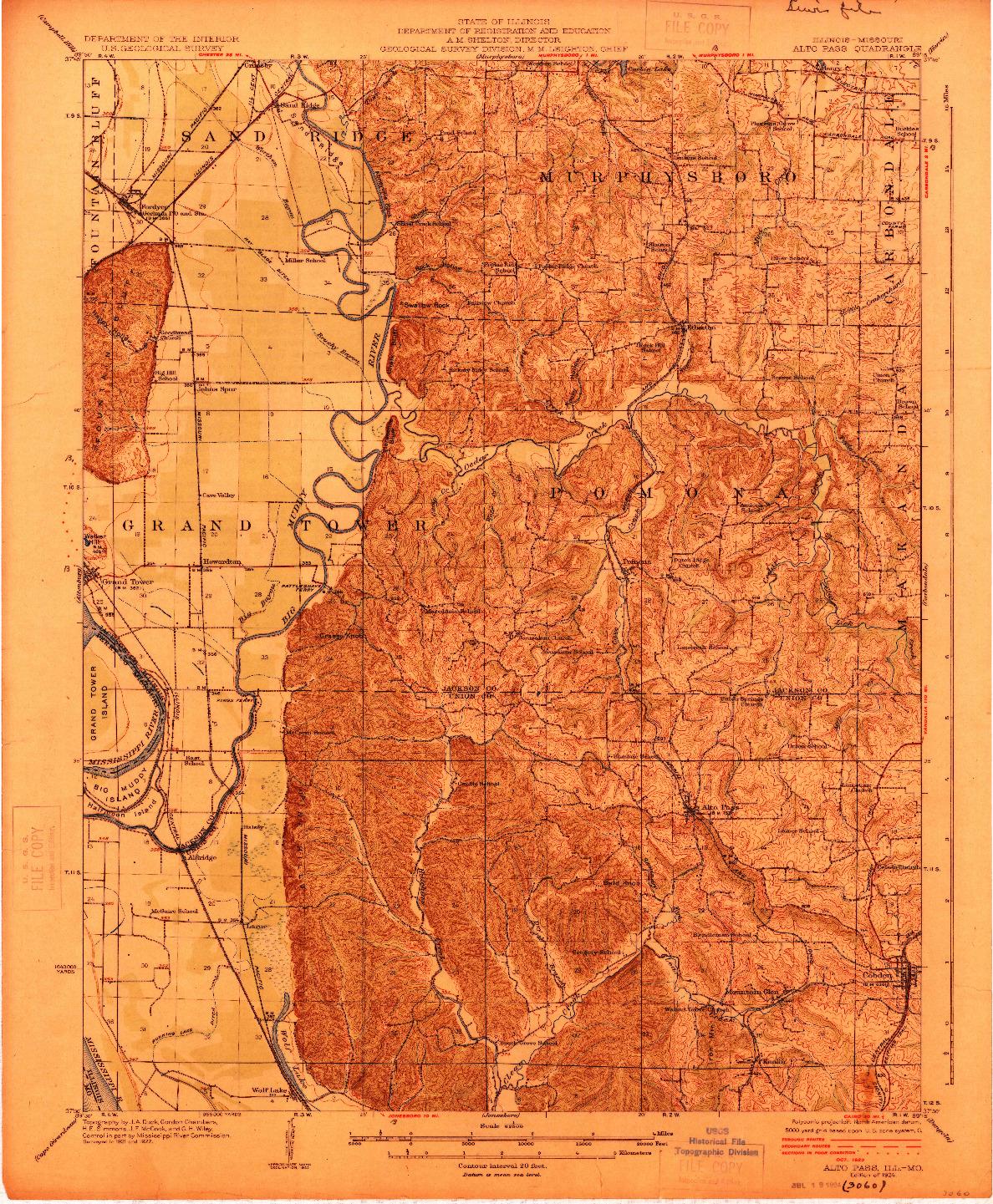 USGS 1:62500-SCALE QUADRANGLE FOR ALTO PASS, IL 1924
