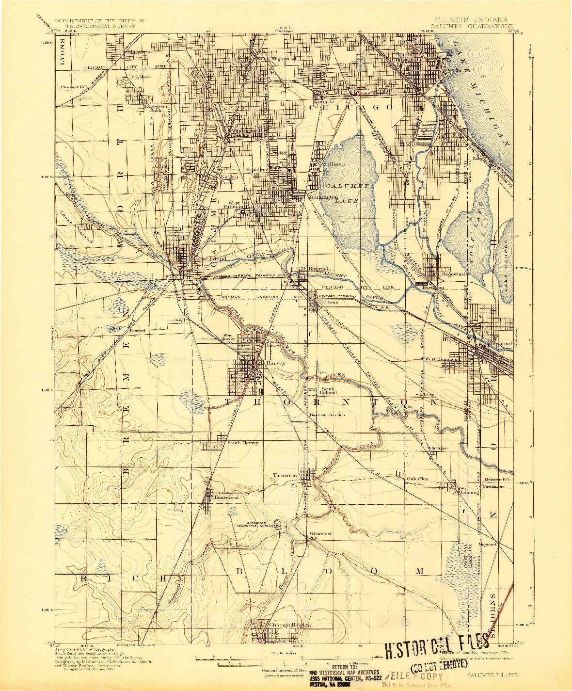USGS 1:62500-SCALE QUADRANGLE FOR CALUMET, IL 1901