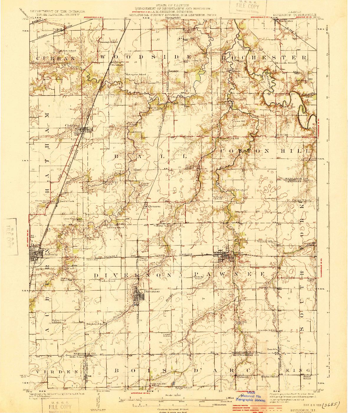 USGS 1:62500-SCALE QUADRANGLE FOR DIVERNON, IL 1924