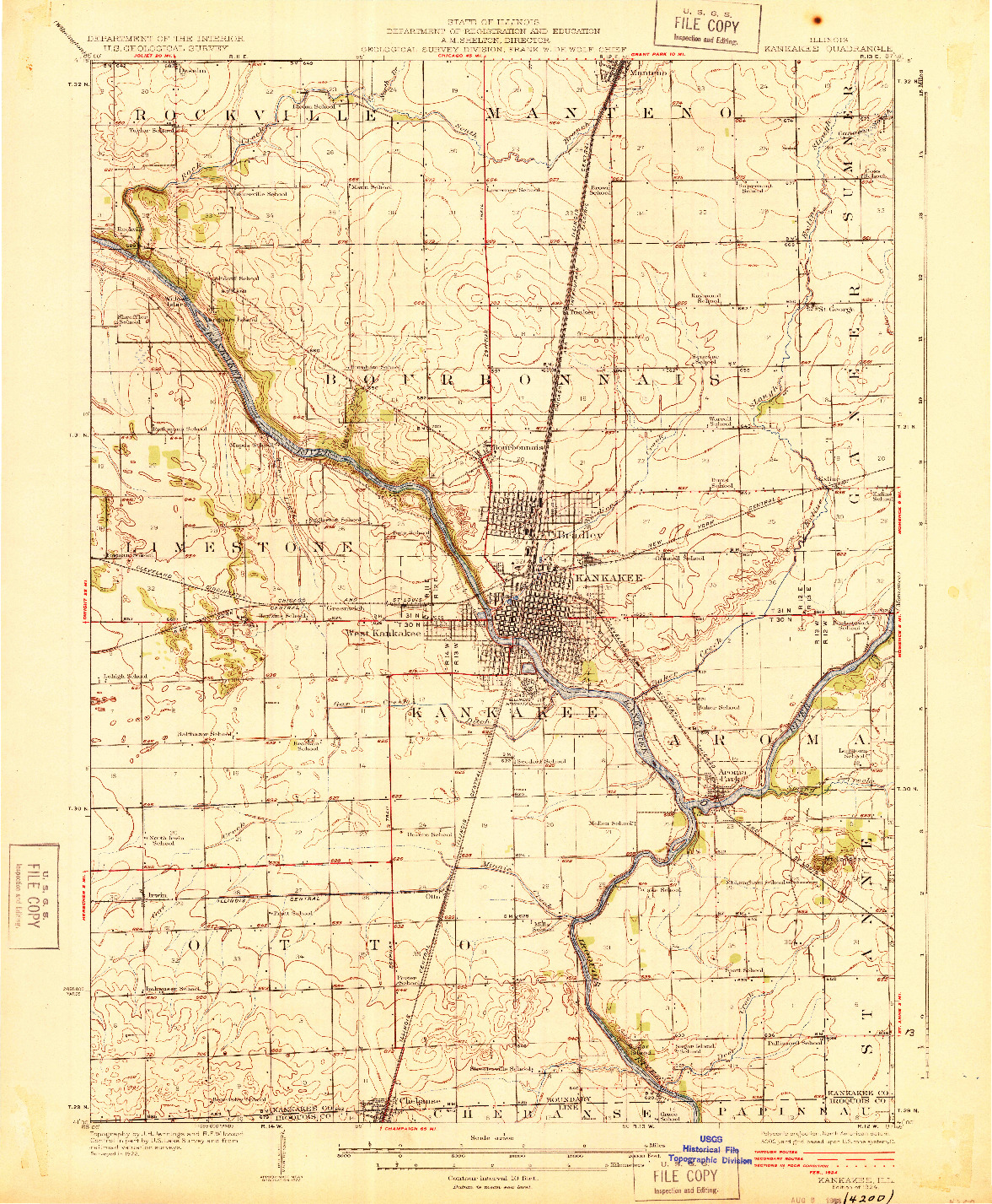 USGS 1:62500-SCALE QUADRANGLE FOR KANKAKEE, IL 1924