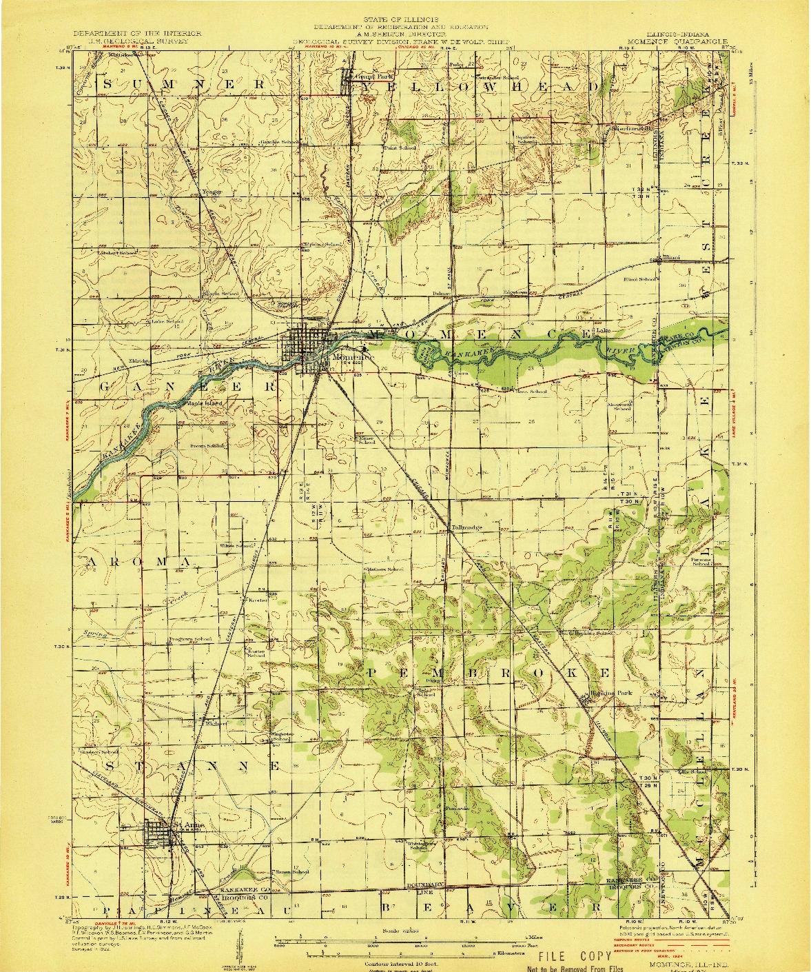 USGS 1:62500-SCALE QUADRANGLE FOR MOMENCE, IL 1924