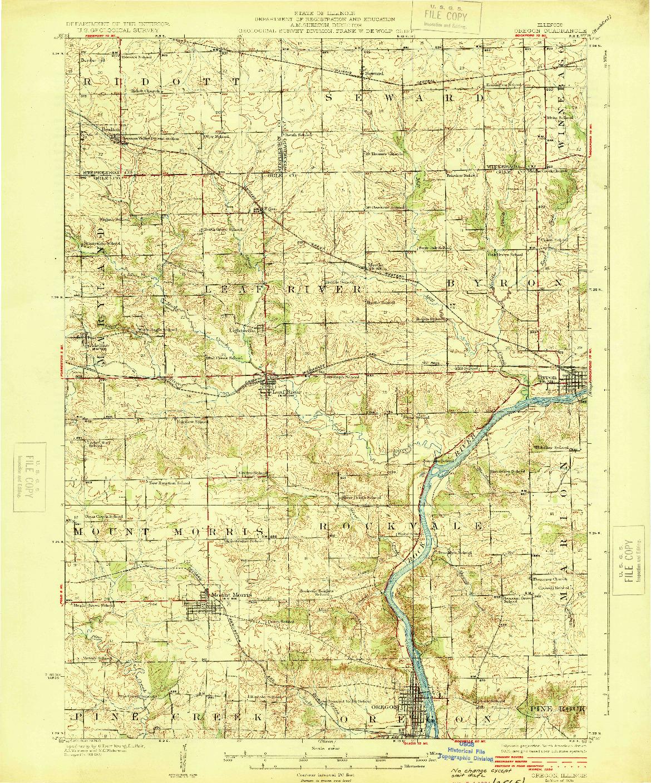 USGS 1:62500-SCALE QUADRANGLE FOR OREGON, IL 1924