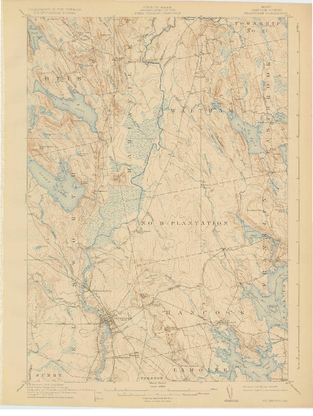 USGS 1:62500-SCALE QUADRANGLE FOR ELLSWORTH, ME 1911
