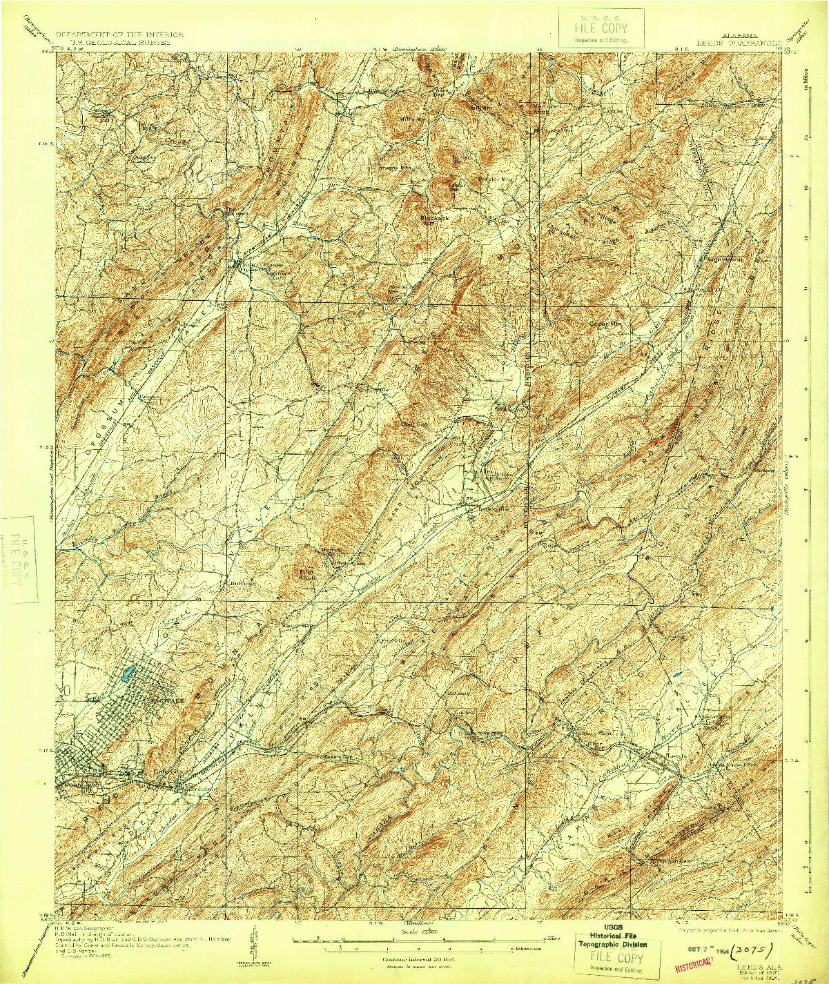USGS 1:62500-SCALE QUADRANGLE FOR LEEDS, AL 1907