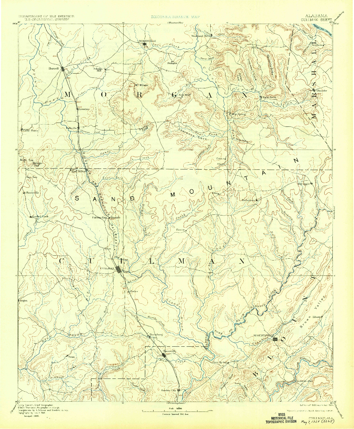 USGS 1:125000-SCALE QUADRANGLE FOR CULLMAN, AL 1892