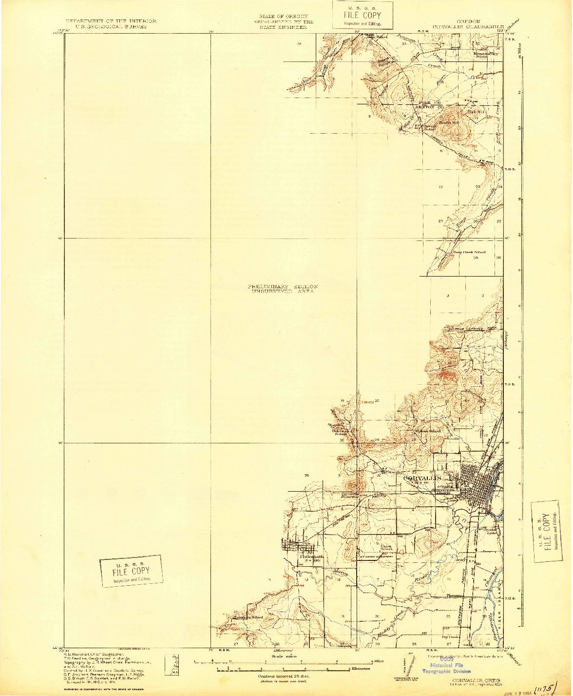 USGS 1:62500-SCALE QUADRANGLE FOR CORVALLIS, OR 1921