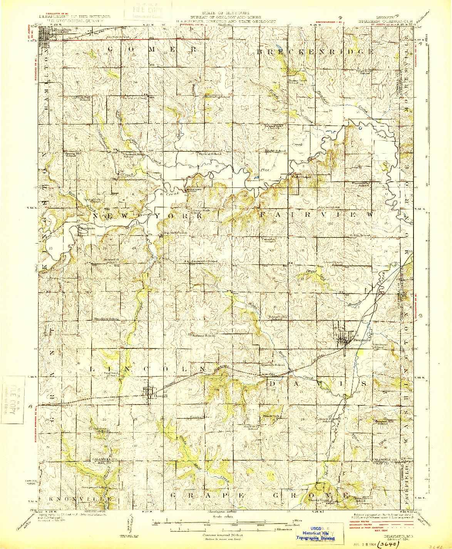 USGS 1:62500-SCALE QUADRANGLE FOR BRAYMER, MO 1924
