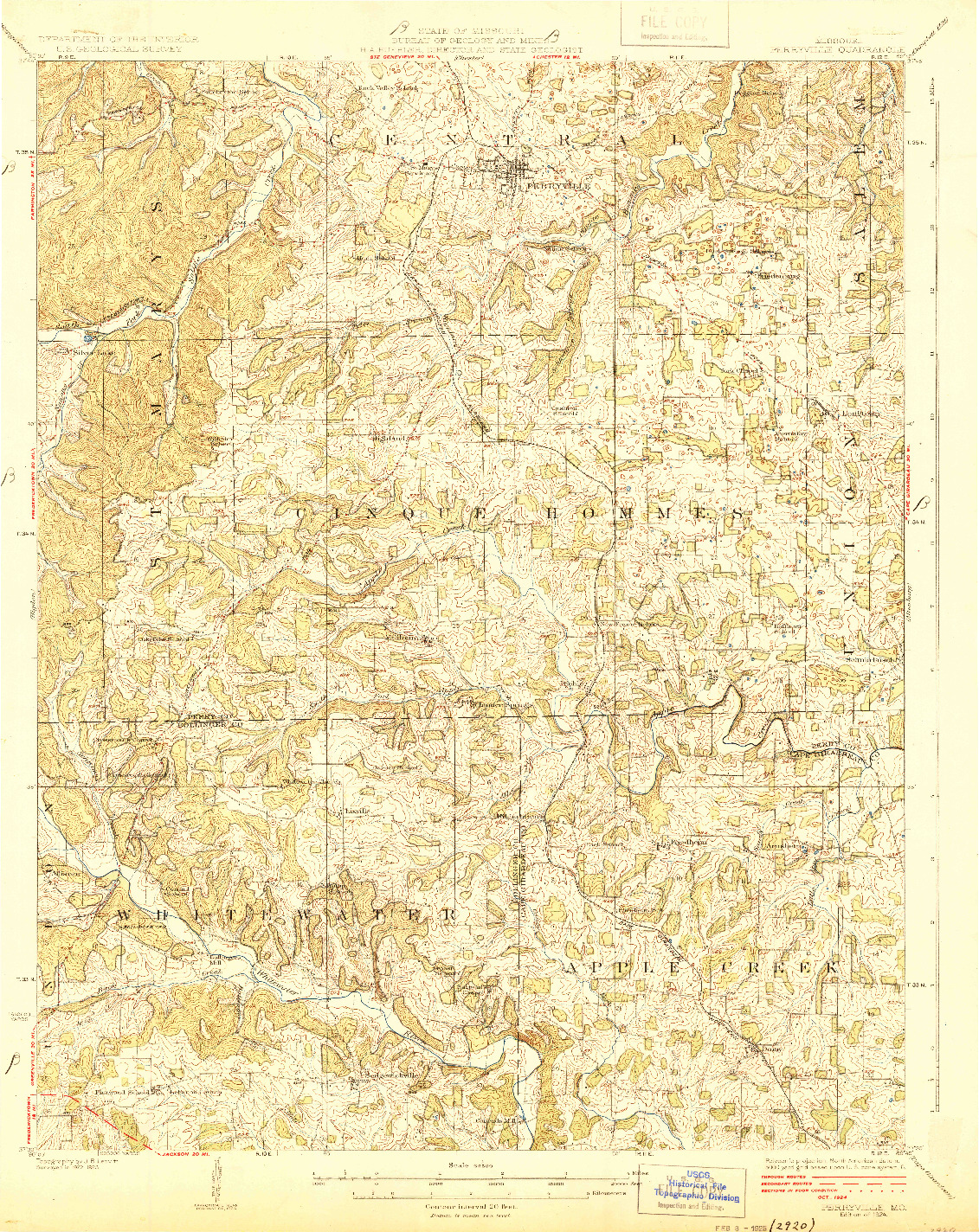 USGS 1:62500-SCALE QUADRANGLE FOR PERRYVILLE, MO 1924