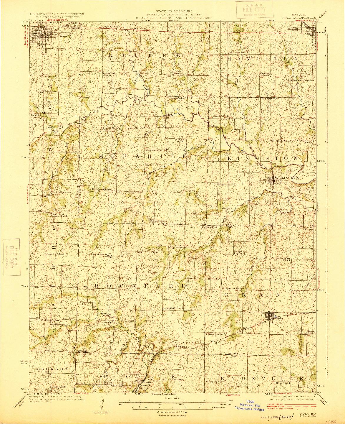 USGS 1:62500-SCALE QUADRANGLE FOR POLO, MO 1924