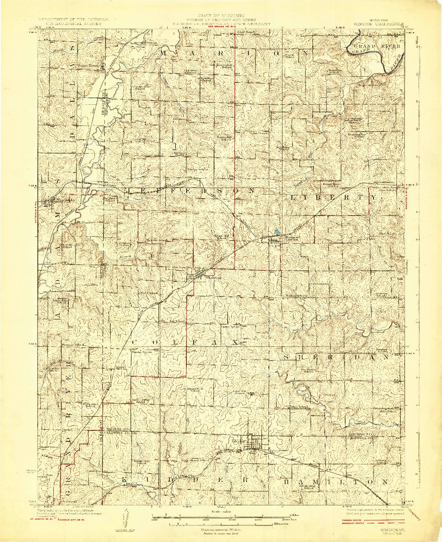 USGS 1:62500-SCALE QUADRANGLE FOR WINSTON, MO 1924