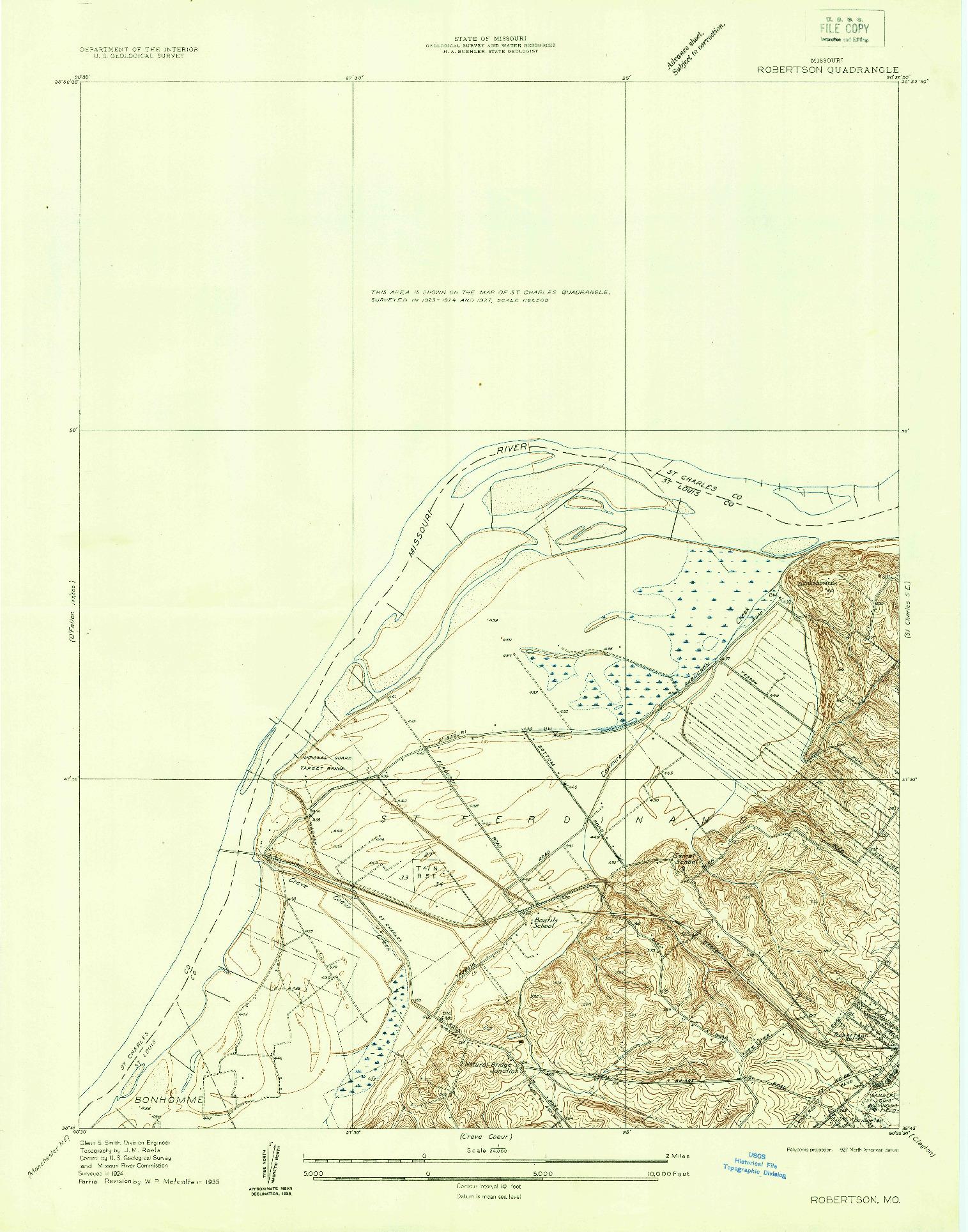 USGS 1:24000-SCALE QUADRANGLE FOR ROBERTSON, MO 1924