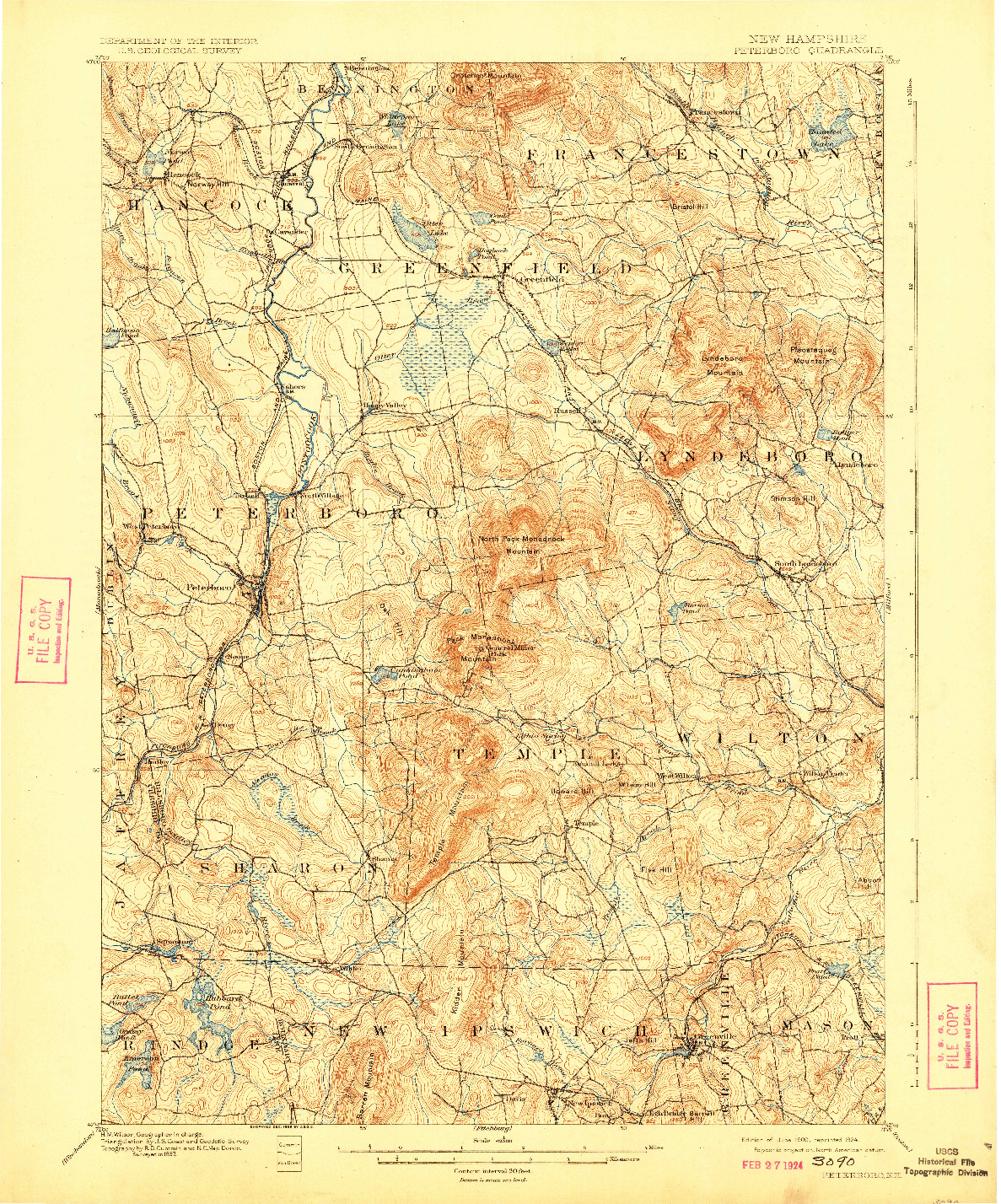 USGS 1:62500-SCALE QUADRANGLE FOR PETERBORO, NH 1900