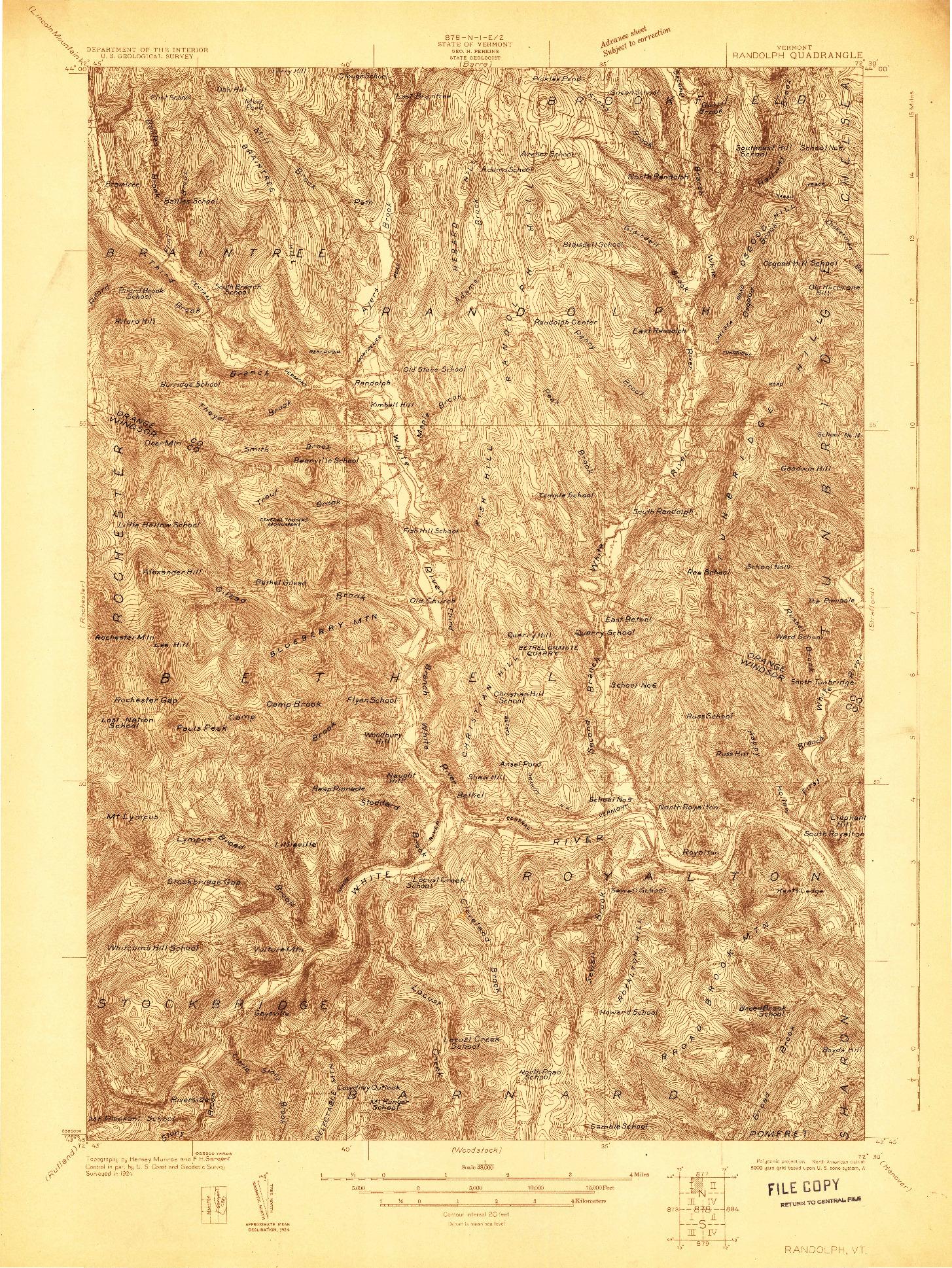 USGS 1:48000-SCALE QUADRANGLE FOR RANDOLPH, VT 1924
