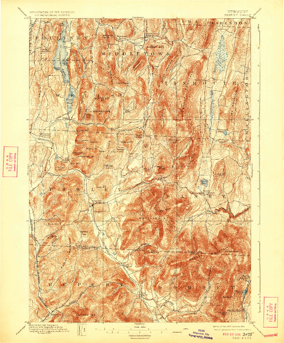 USGS 1:62500-SCALE QUADRANGLE FOR PAWLET, VT 1897