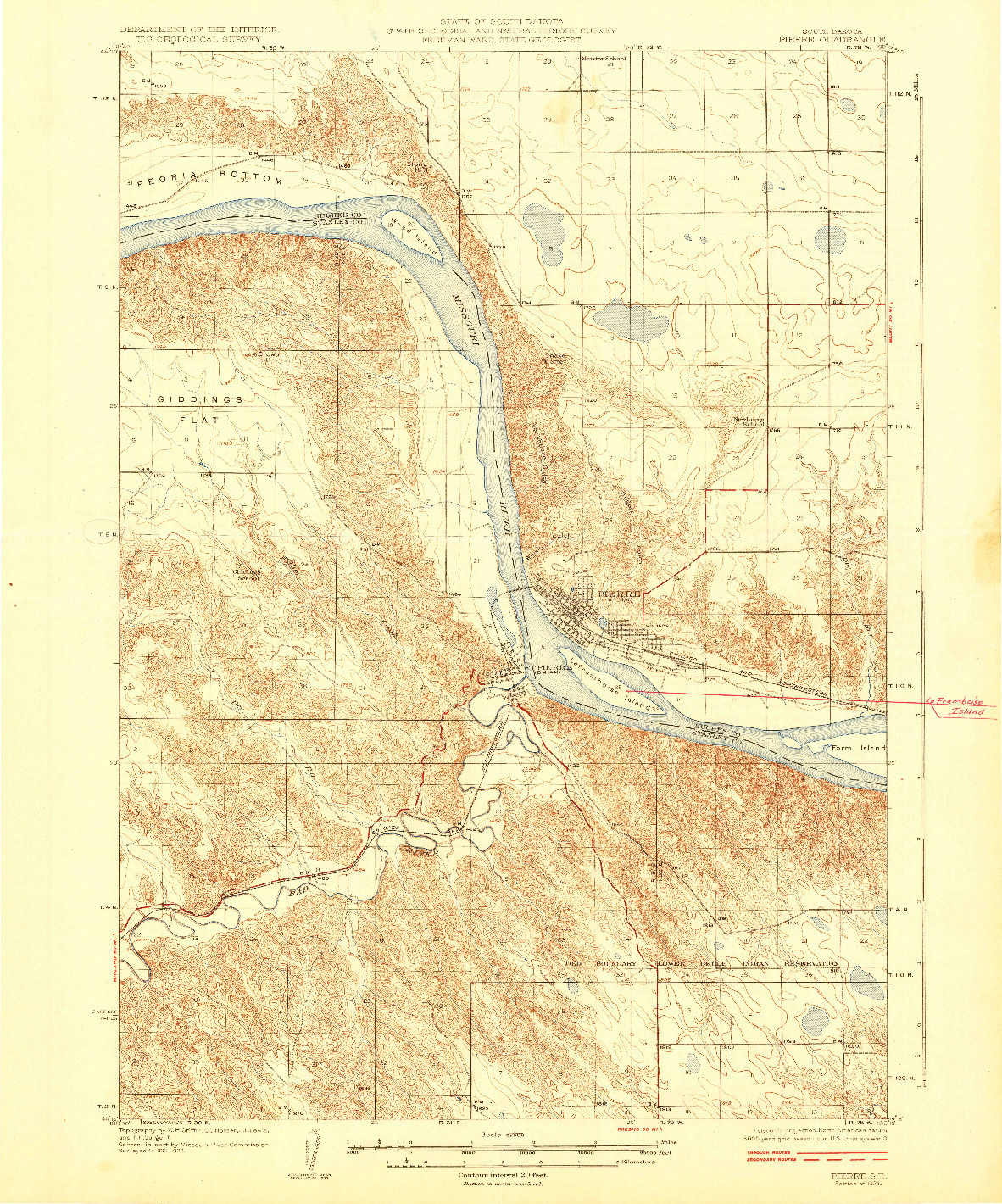 USGS 1:62500-SCALE QUADRANGLE FOR PIERRE, SD 1924